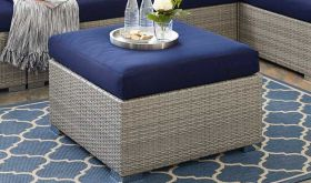 Repose Sunbrella Fabric Outdoor Patio Ottoman in Light Gray Navy