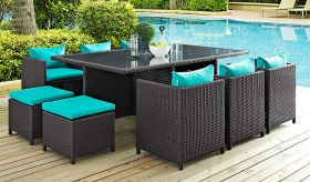 Reversal 11 Piece Outdoor Patio Dining Set in Espresso Turquoise
