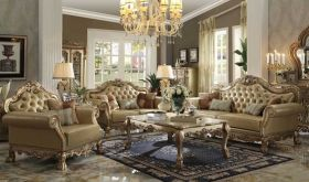Rhein Leather Traditional Living Room Set in Gold Patina