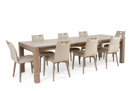 Visal Modern Dining Room Set in Ash Gray & Beige