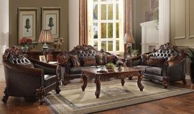 Rhine Leather Traditional Living Room Set in Cherry