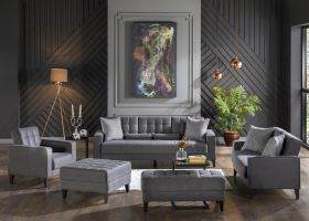 Ricard Convertible Living Room Set in Melson Dark Gray
