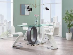 Ridge Modern Dining Room Set in Gray & White