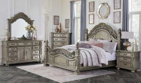 Riverside Traditional Bedroom Set in Platinum Gold
