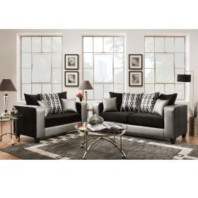 Riverstone Implosion Black Velvet Living Room Set [RS-4120-06LS-SET-GG]