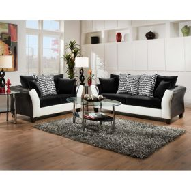 Riverstone Implosion Black Velvet Living Room Set [RS-4173-02LS-SET-GG]