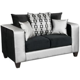 Riverstone Implosion Black Velvet Loveseat [RS-4120-06L-GG]