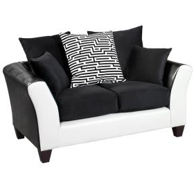 Riverstone Implosion Black Velvet Loveseat [RS-4173-02L-GG]