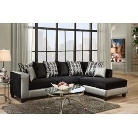 Riverstone Implosion Black Velvet Sectional [RS-4124-06SEC-GG]