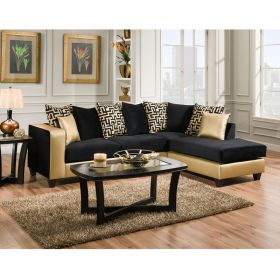 Riverstone Implosion Black Velvet Sectional [RS-4124-07SEC-GG]