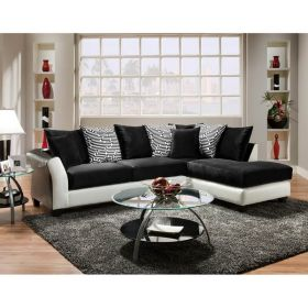 Riverstone Implosion Black Velvet Sectional [RS-4174-02SEC-GG]