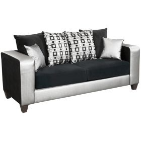 Riverstone Implosion Black Velvet Sofa [RS-4120-06S-GG]