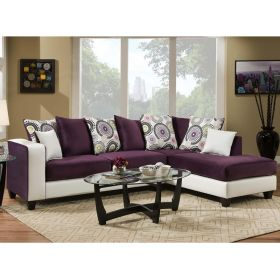 Riverstone Implosion Purple Velvet Sectional [RS-4124-05SEC-GG]