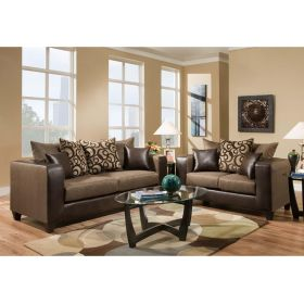 Riverstone Object Espresso Chenille Living Room Set [RS-4120-01LS-SET-GG]