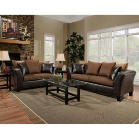 Riverstone Sierra Chocolate Microfiber Living Room Set [RS-4170-01LS-SET-GG]