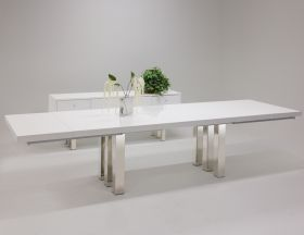 Lahaina Modern Dining Room Set in White Lacquer