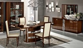 Roma Dining Room Set in Walnut High Gloss