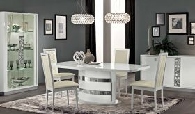 Roma Dining Room Set in White High Gloss