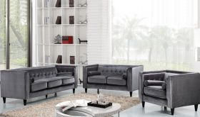 Roma Contemporary Living Room Set in Gray