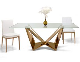 Covina Modern Dining Room Set in Clear & Rose Gold