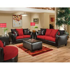 Riverstone Victory Lane Cardinal Microfiber Living Room Set [RS-4170-04LS-SET-GG]