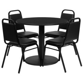 36'' Round Black Laminate Table Set with 4 Black Trapezoidal Back Banquet Chairs [RSRB1001-GG]