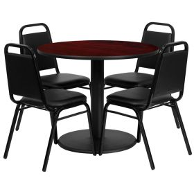 36'' Round Mahogany Laminate Table Set with 4 Black Trapezoidal Back Banquet Chairs [RSRB1002-GG]