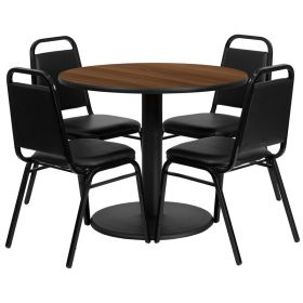36'' Round Walnut Laminate Table Set with 4 Black Trapezoidal Back Banquet Chairs [RSRB1004-GG]