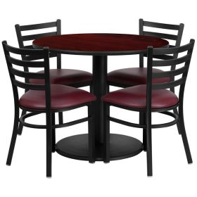 36'' Round Mahogany Laminate Table Set with 4 Ladder Back Metal Chairs - Burgundy Vinyl Seat [RSRB1006-GG]