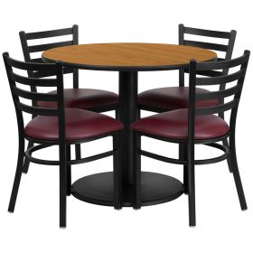 36'' Round Natural Laminate Table Set with 4 Ladder Back Metal Chairs - Burgundy Vinyl Seat [RSRB1007-GG]