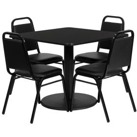 36'' Square Black Laminate Table Set with 4 Black Trapezoidal Back Banquet Chairs [RSRB1009-GG]