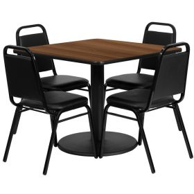 36'' Square Walnut Laminate Table Set with 4 Black Trapezoidal Back Banquet Chairs [RSRB1012-GG]