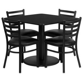 36'' Square Black Laminate Table Set with 4 Ladder Back Metal Chairs - Black Vinyl Seat [RSRB1013-GG]