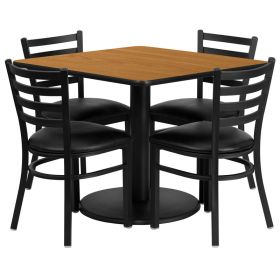 36'' Square Natural Laminate Table Set with 4 Ladder Back Metal Chairs - Black Vinyl Seat [RSRB1015-GG]
