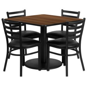 36'' Square Walnut Laminate Table Set with 4 Ladder Back Metal Chairs - Black Vinyl Seat [RSRB1016-GG]