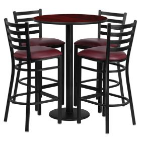 30'' Round Mahogany Laminate Table Set with 4 Ladder Back Metal Bar Stools - Burgundy Vinyl Seat [RSRB1026-GG]