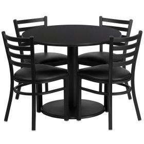 36'' Round Black Laminate Table Set with 4 Ladder Back Metal Chairs - Black Vinyl Seat [RSRB1029-GG]