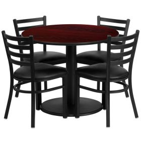 36'' Round Mahogany Laminate Table Set with 4 Ladder Back Metal Chairs - Black Vinyl Seat [RSRB1030-GG]