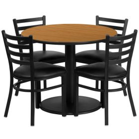 36'' Round Natural Laminate Table Set with 4 Ladder Back Metal Chairs - Black Vinyl Seat [RSRB1031-GG]