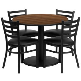 36'' Round Walnut Laminate Table Set with 4 Ladder Back Metal Chairs - Black Vinyl Seat [RSRB1032-GG]