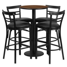 24'' Round Walnut Laminate Table Set with 4 Ladder Back Bar Stools - Black Vinyl Seat [RSRB1036-GG]