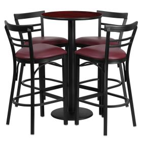 24'' Round Mahogany Laminate Table Set with 4 Ladder Back Metal Bar Stools - Burgundy Vinyl Seat [RSRB1038-GG]