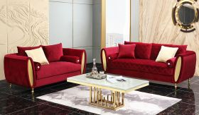 Ruby Traditional Living Room Set in Maroon