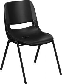 HERCULES Series 440 lb. Capacity Black Ergonomic Shell Stack Chair with Black Frame and 14'' Seat Height [RUT-14-PDR-BLACK-GG]