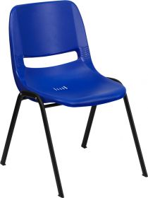 HERCULES Series 661 lb. Capacity Navy Ergonomic Shell Stack Chair with Black Frame and 16'' Seat Height [RUT-16-NVY-BLACK-GG]