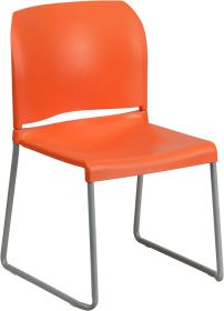 HERCULES Series 880 lb. Capacity Orange Full Back Contoured Stack Chair with Sled Base [RUT-238A-OR-GG]