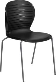 HERCULES Series 551 lb. Capacity Black Stack Chair [RUT-3-BK-GG]