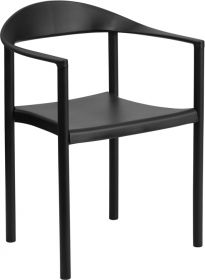 HERCULES Series 1000 lb. Capacity Black Plastic Cafe Stack Chair [RUT-418-BK-GG]