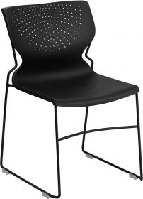HERCULES Series 661 lb. Capacity Black Full Back Stack Chair with Black Frame [RUT-438-BK-GG]