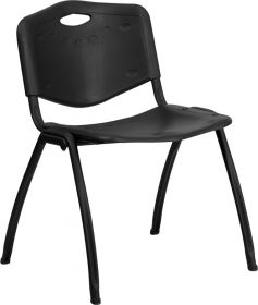 HERCULES Series 880 lb. Capacity Black Plastic Stack Chair [RUT-D01-BK-GG]